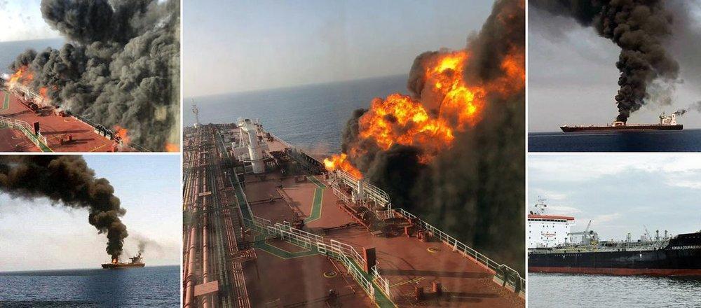 اولین پس لرزه های آتش سوزی نفت کش ها در دریای عمان