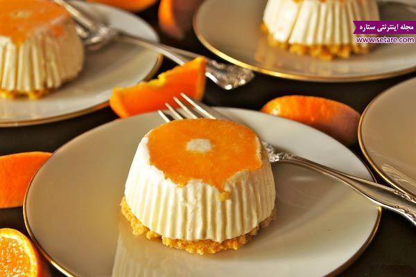 طرز تهیه چیز کیک نارنگی با استفاده از کمپوت نارنگی